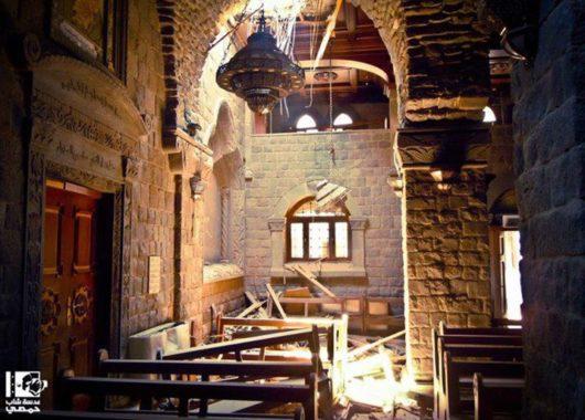 Schäden an der Kirche Umm al-Zinar in Homs