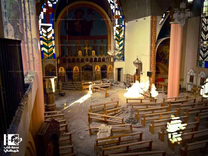 Zerstörte Kirche in Homs