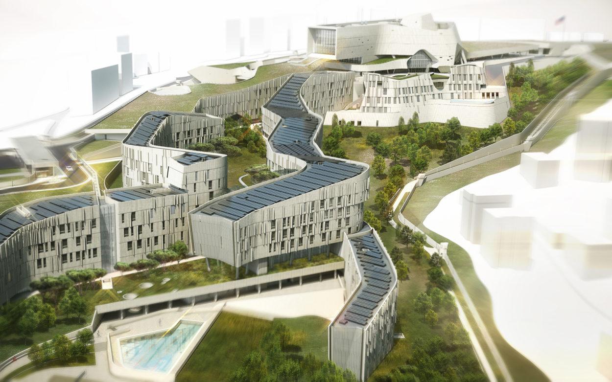 Neue US-Botschaft in Beirut (Rendering: Morphosis Architects
