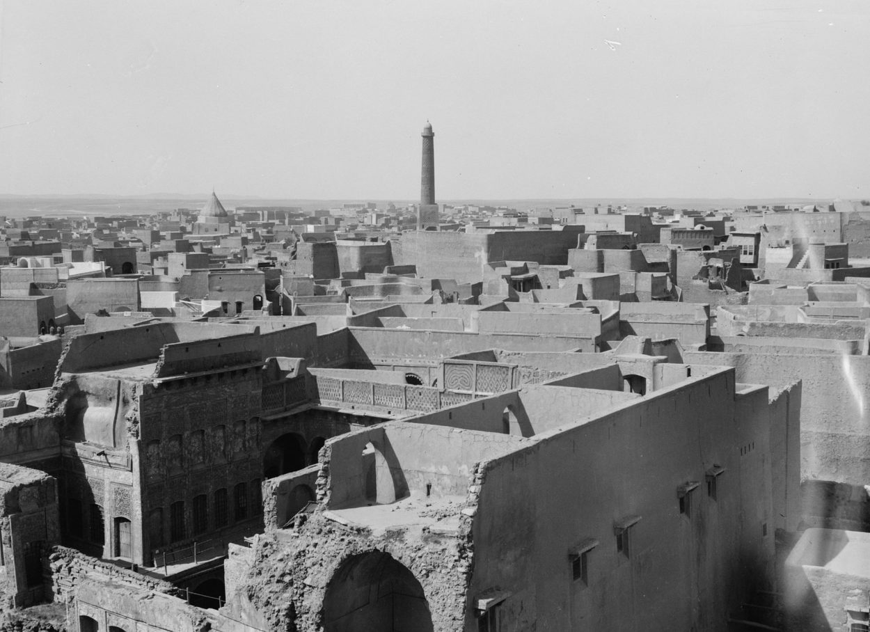 Blick auf das schiefe Minarett von Mossul. Foto: United States Library of Congress's Prints and Photographs division under the digital ID matpc.16200.