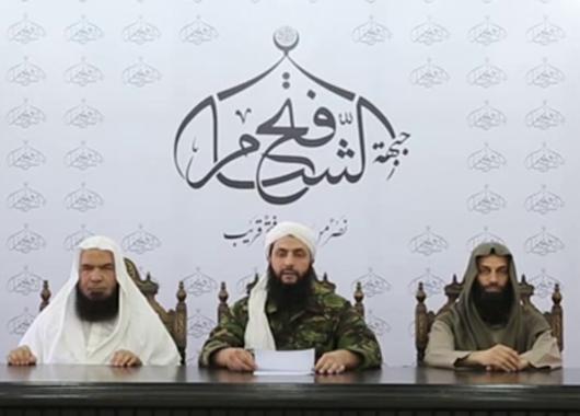 Abu Mohammed al-Jawlani, Anführer der Jabhat an-Nusra, gibt die Gründer der Fatah ash-Sham bekannt (Screenshot: Youtube)