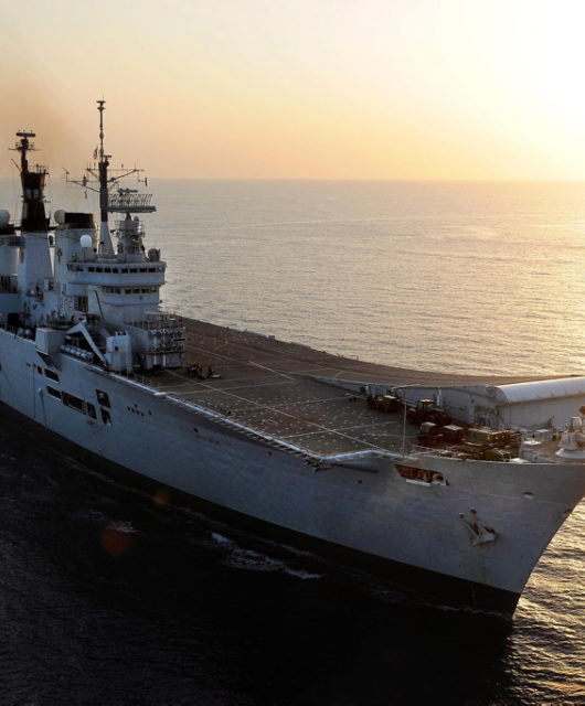HMS Illustrious at sea during Cougar 2013.