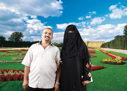 Arabische Touristen vor Wiener Kulisse