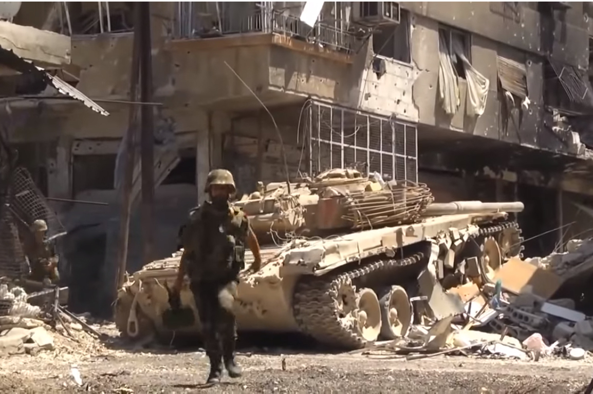 Syrische Armeeinheiten: screenshot: https://www.youtube.com/watch?v=w0-puVP8lGg CC BY 3.0